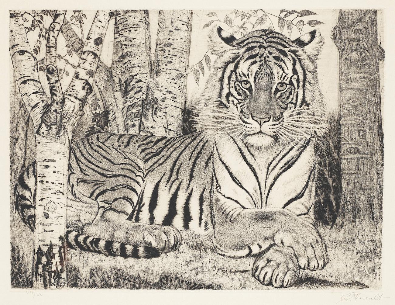 Eduard Wiiraltin tiikeri-aiheinen taideteos.