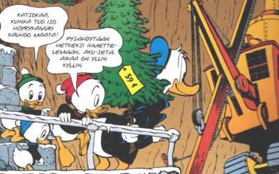 Carl Barksin joulutarinat 1945–1949 -sarjakuvakirjaan on koottu Aku Ankan hauskimpia joulutarinoita