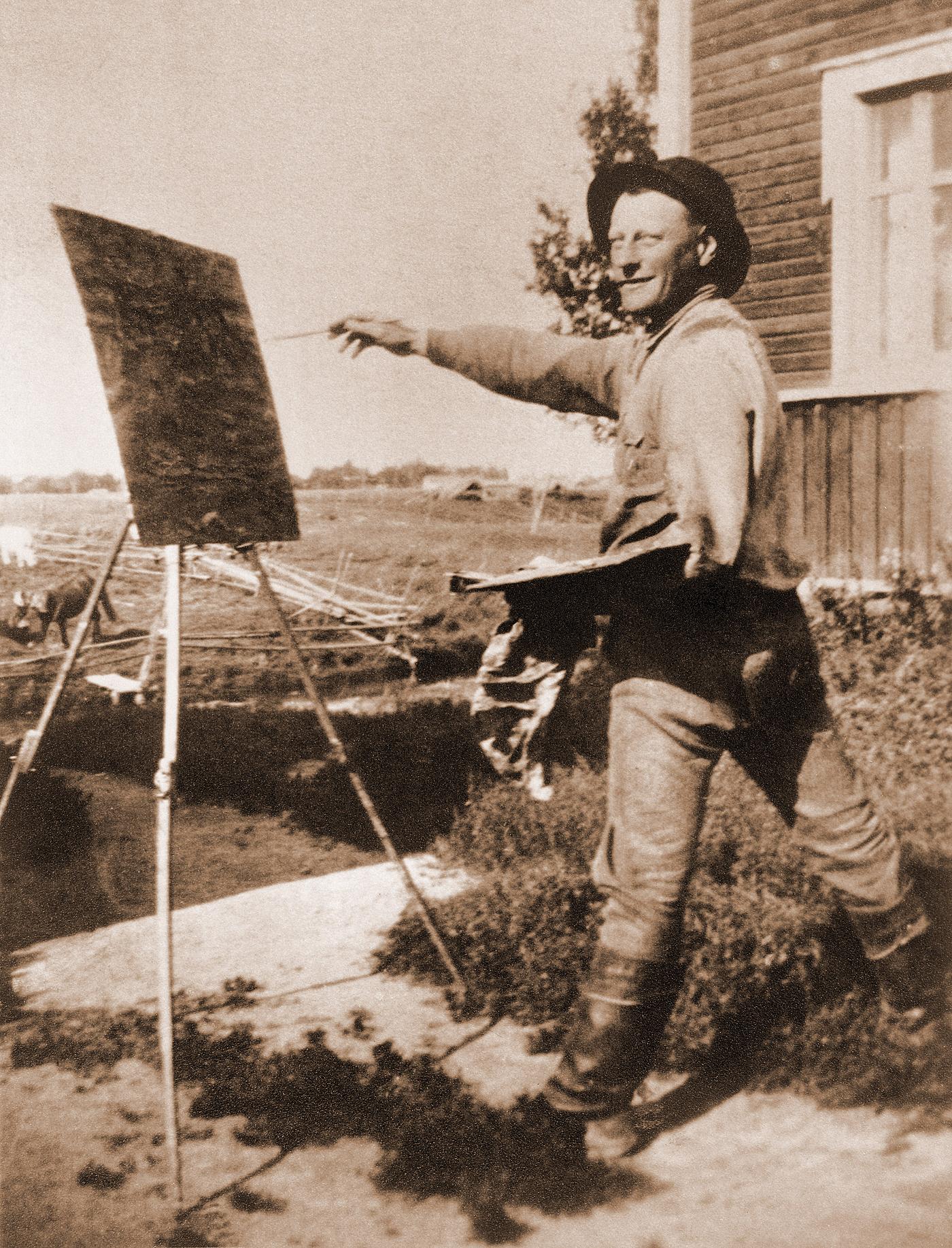 Pekka Törmän valokuva Vilho Lammesta maalaamassa 1400pxlev