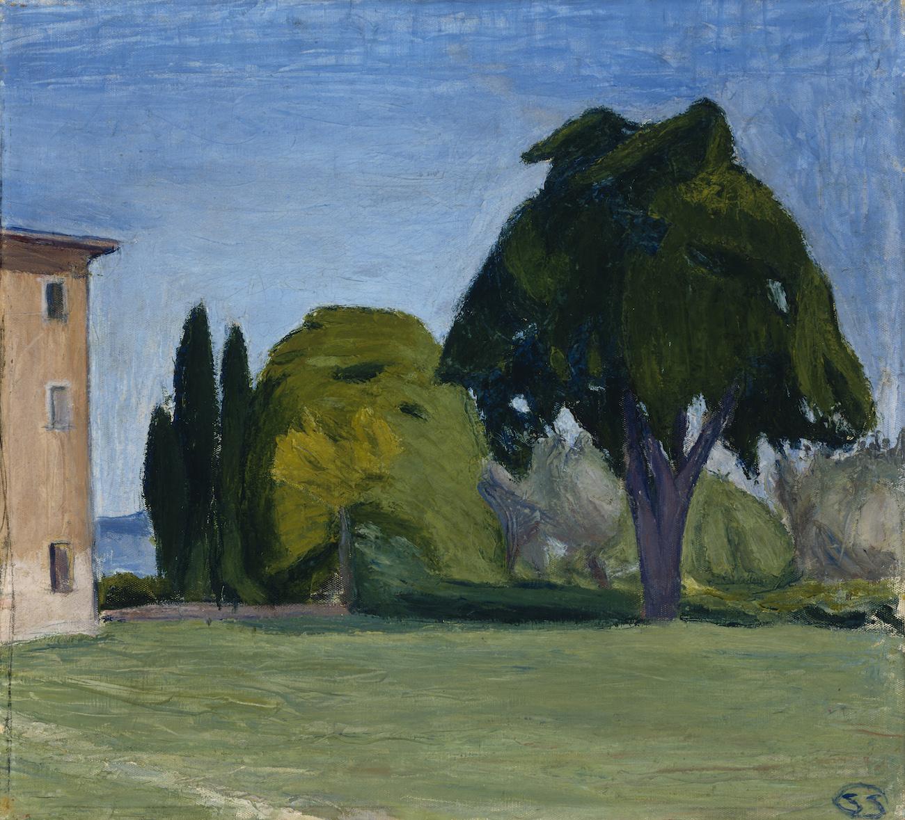 Sigrid Schauman Italialainen maisema Volterra 1909